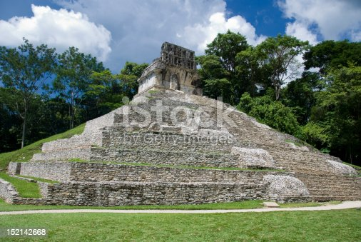 The Mayan temple of the sun at the ancient site of Palenque in Chiapas, Mexico.  This temple of a member of the Temples of the Cross group.