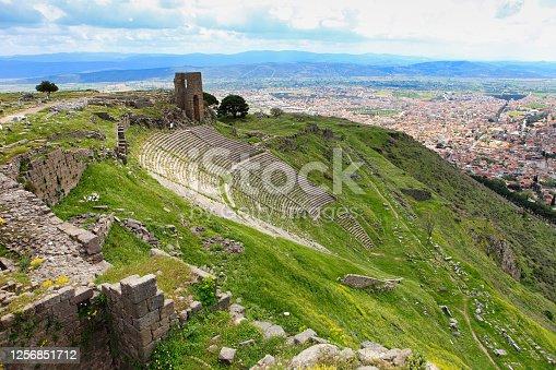 Temple of Trajan in ancient city Pergamon, Bergama, Turkey
