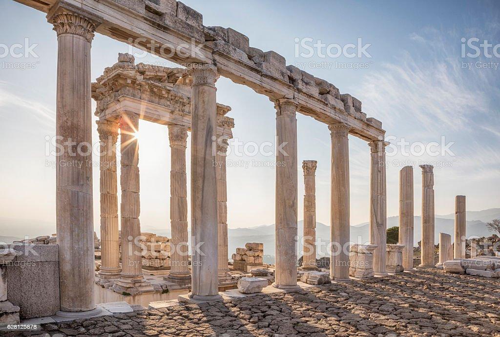 Temple of Trajan, Pergamon, Bergama, Izmir, Turkey stock photo