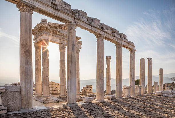 Temple of Trajan, Pergamon, Bergama, Izmir, Turkey Built on a conical hill rising above the surrounding valley, Pergamum (or Pergamon) was an important capital city in ancient times (dates back to 11th century). ancient greece stock pictures, royalty-free photos & images