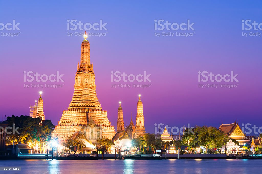 Temple of Wat Arun at sunset in Bangkok, Thailand stock photo