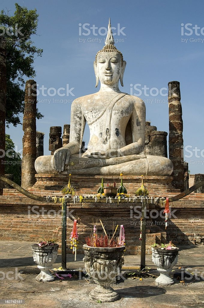 Temple of Wat Mahathat in Sukhothai in Thailand royalty-free stock photo
