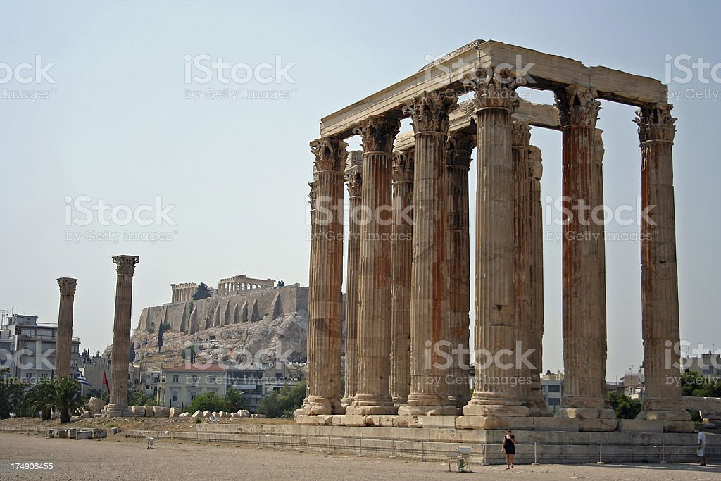 temple of Zeus with acropolis background royalty-free stock photo