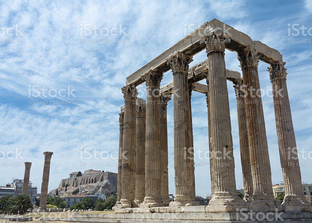 Temple of Zeus with Acropolis stock photo