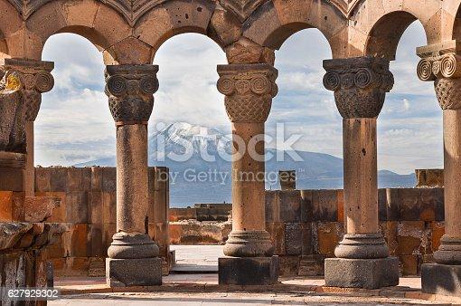 istock Temple of Zvartnots and Mt Ararat, Yerevan, Armenia. 627929302