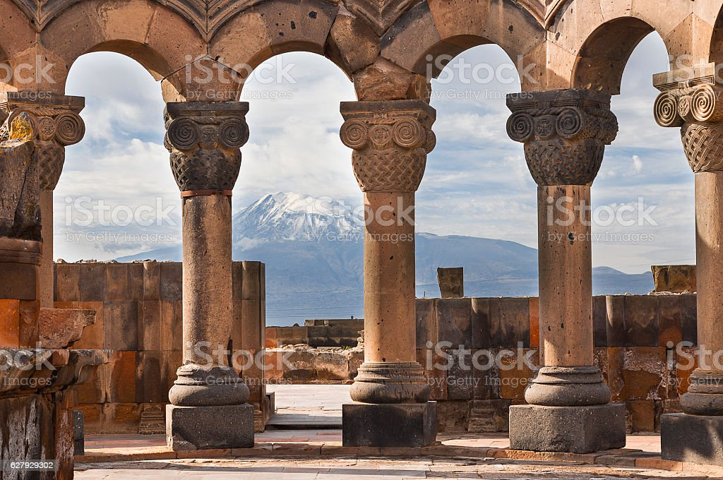 Temple of Zvartnots and Mt Ararat, Yerevan, Armenia. stock photo