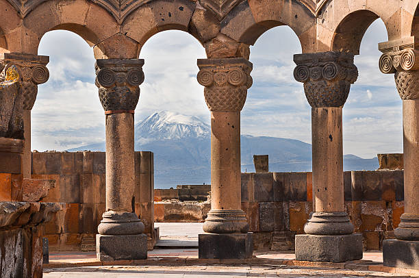 Temple of Zvartnots and Mt Ararat, Yerevan, Armenia. Ruins of the Temple of Zvartnots and the Mount Ararat in the background, in Yerevan, Armenia. yerevan stock pictures, royalty-free photos & images