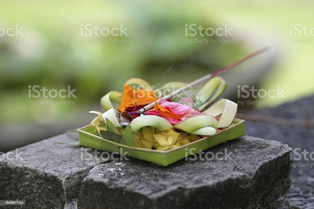 Temple offerings in Bali, Indonesia stock photo