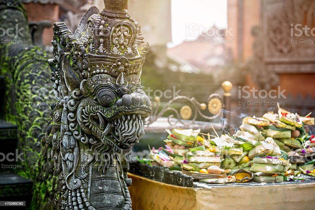 Temple offerings to Hindu God, Bali, Indonesia stock photo