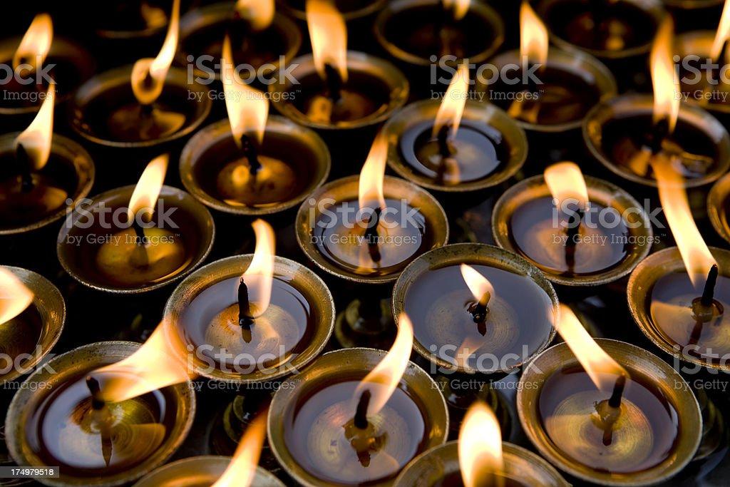 temple oil lamps diya stock photo