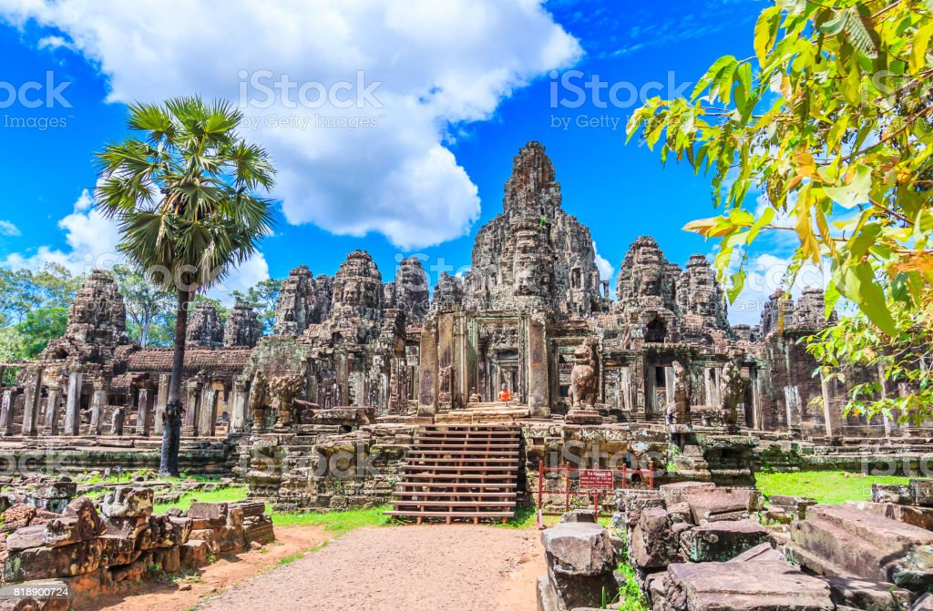 Temple old Landmark Ancient City Ancient sculpture at Angkor Wat in siem reap of Cambodia stock photo