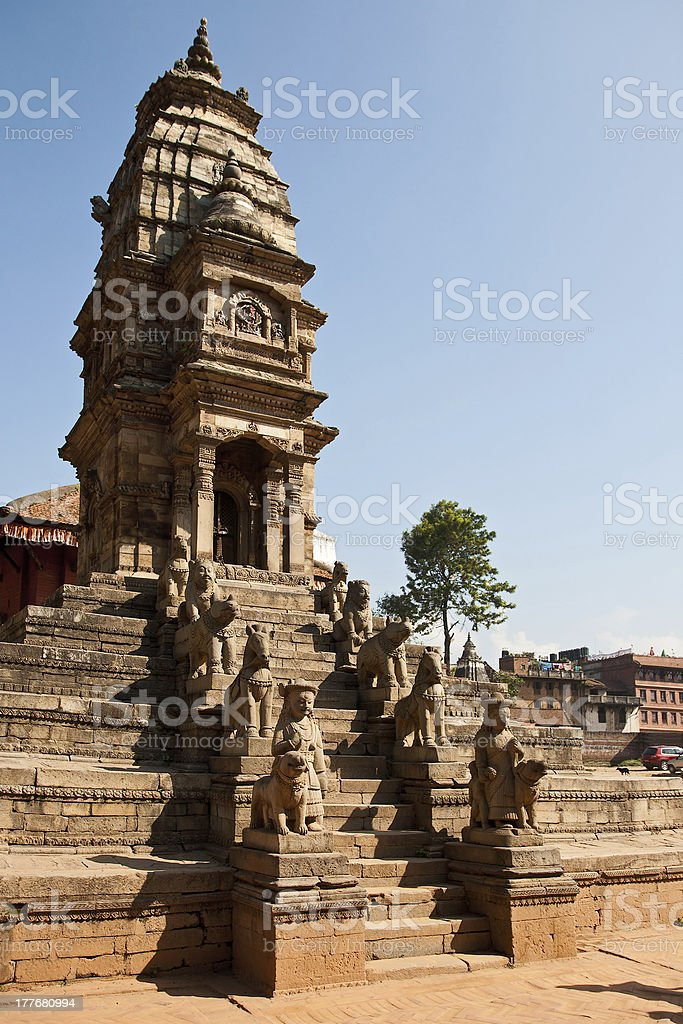 Temple on Bhaktapur, Nepal royalty-free stock photo