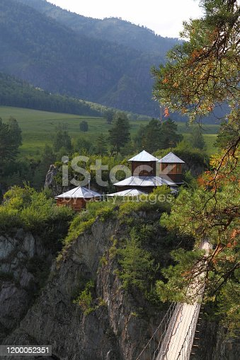 istock Temple on the rocks in the village of Chemal in Altai in Russia 1200052351