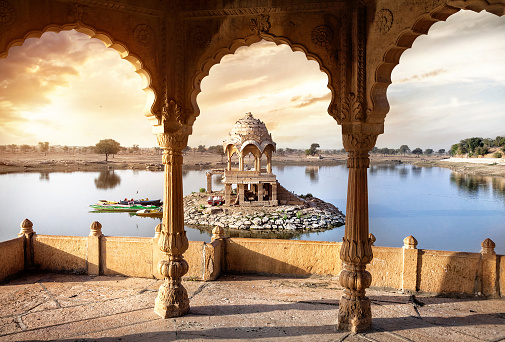 istock Temple on the water in India 489477538