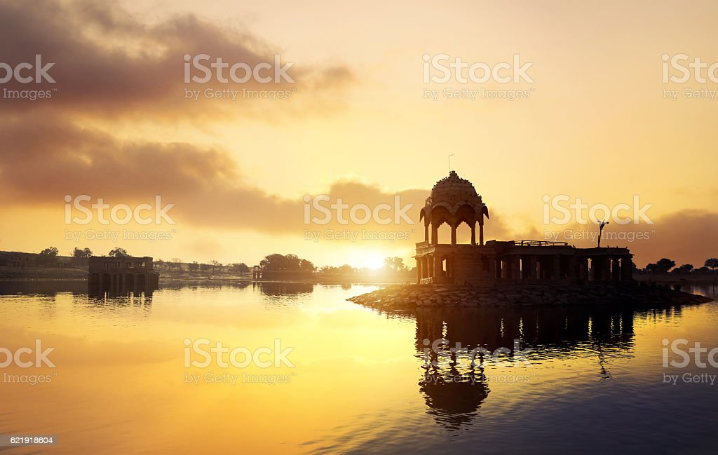 Temple on the water in India stock photo