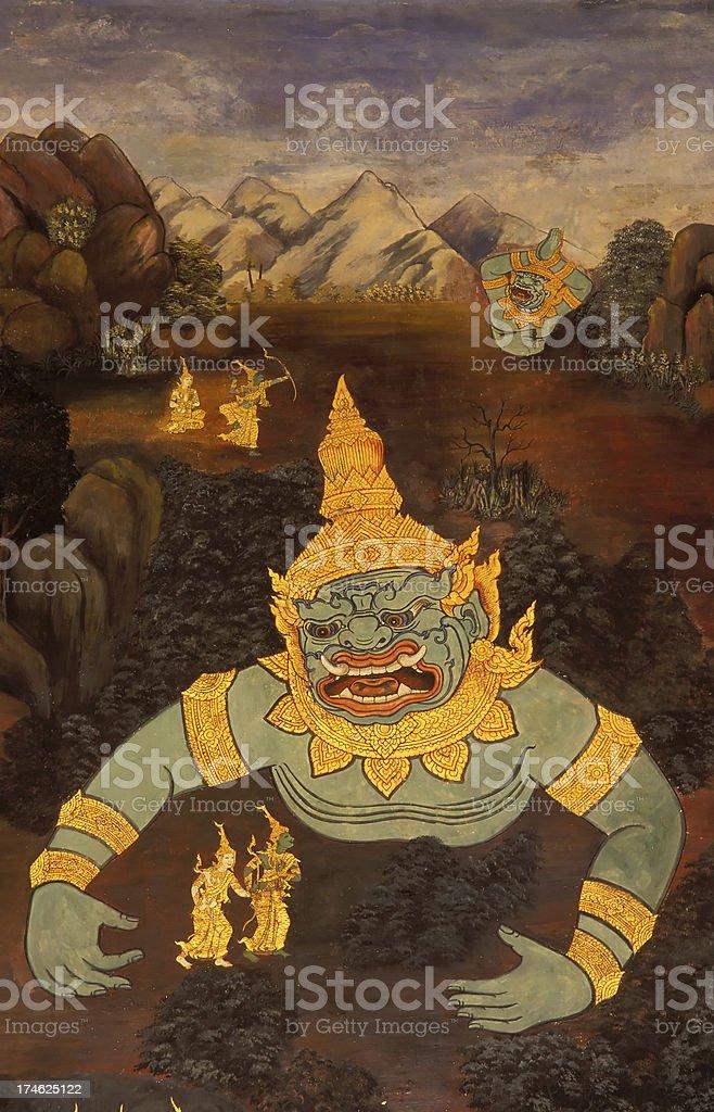 temple painting bangkok thailand ramakien royalty-free stock photo
