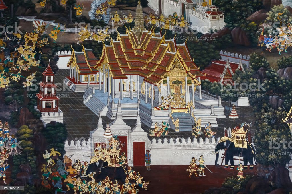 Temple painting bangkok thailand ramakien stock photo