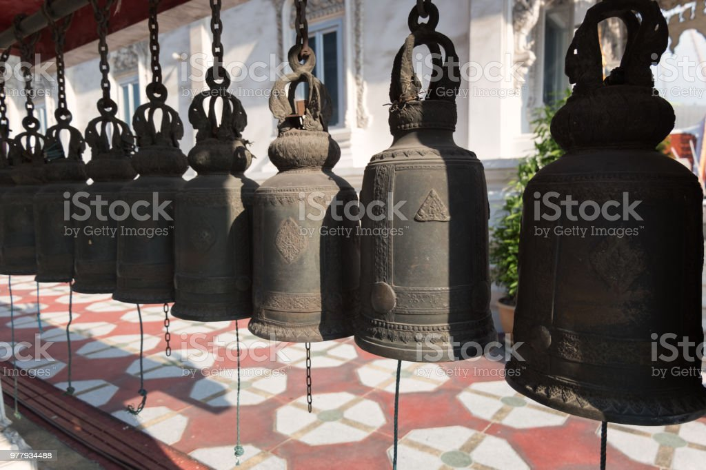 Temple Prayer bells stock photo