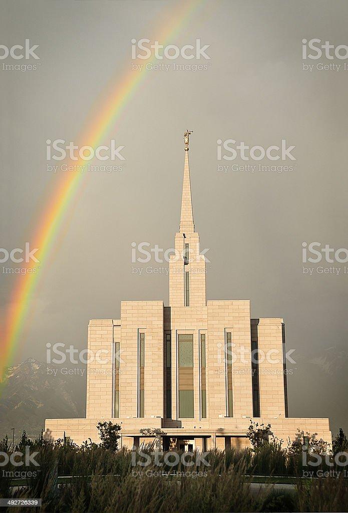 Temple Rain stock photo