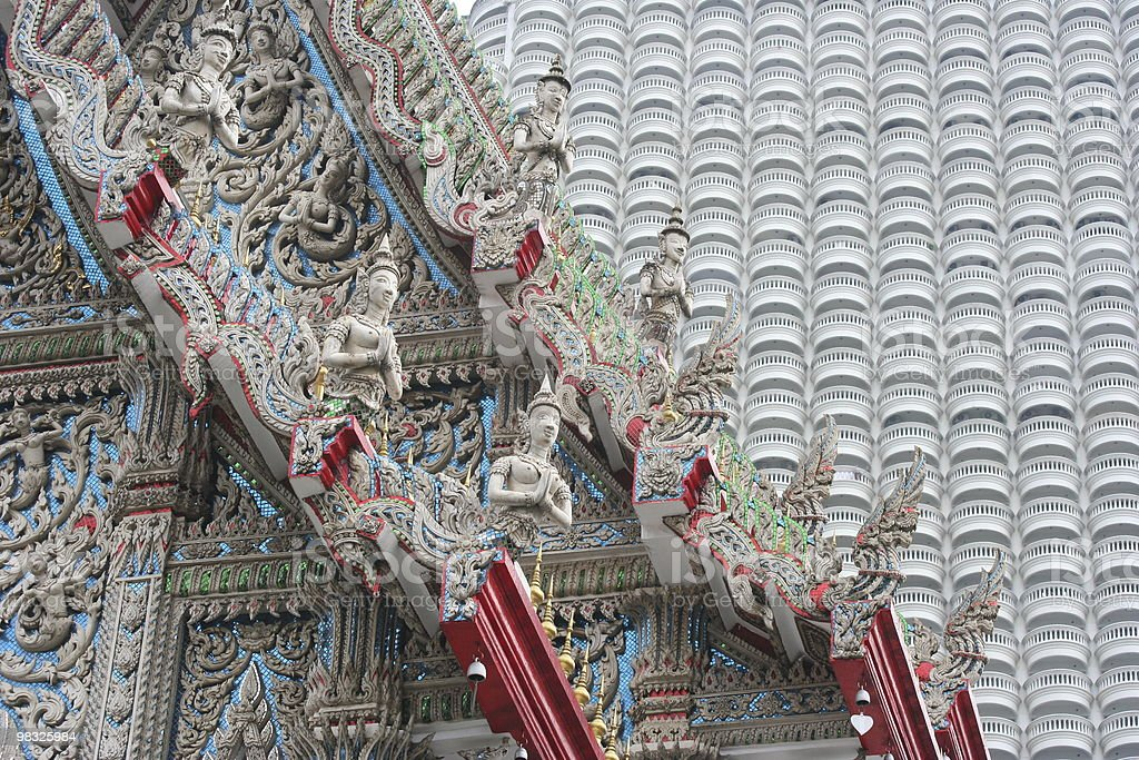 Temple roof and facade of hotel in Bangkok, Thailand royalty-free stock photo