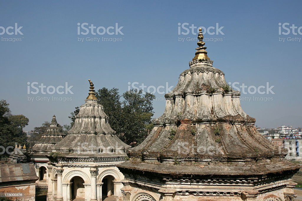 temple roofs in Pashupatinath royalty-free stock photo