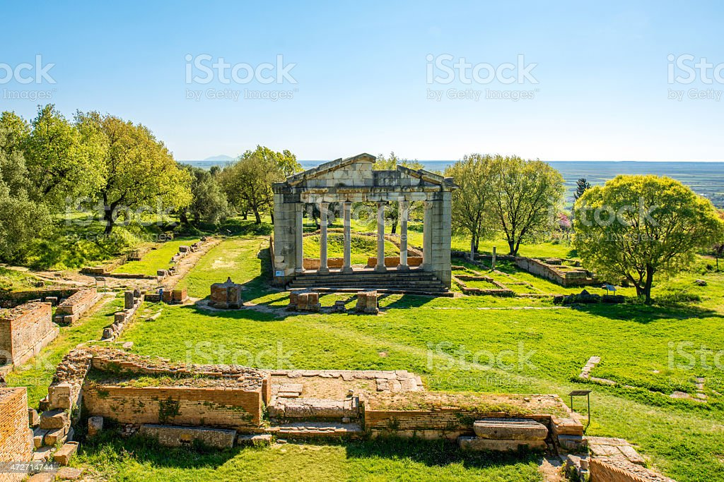 Temple ruins in Ancient Apollonia stock photo