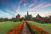 Temple ruins in sunset in Sukhothai, Thailand