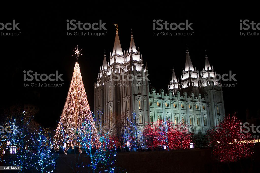 Temple Square Christmas Lights stock photo