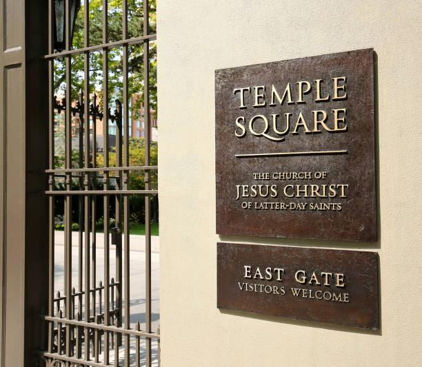 Temple Square Sign stock photo