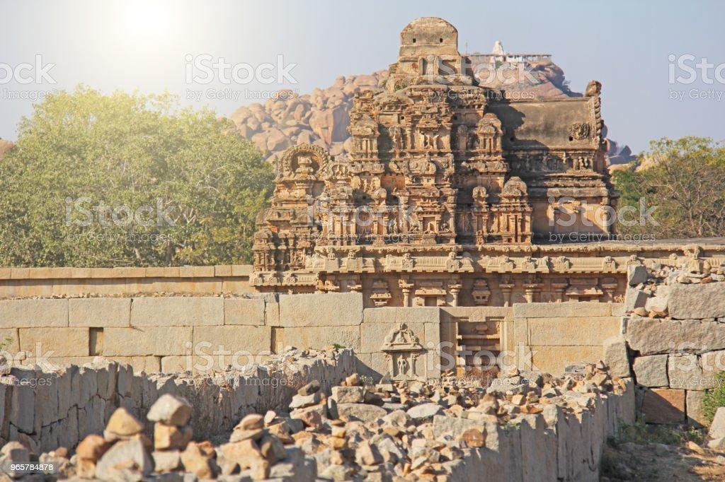 Temple stone carvings and ruins in Hampi, Karnataka, India - Royalty-free Ancient Stock Photo