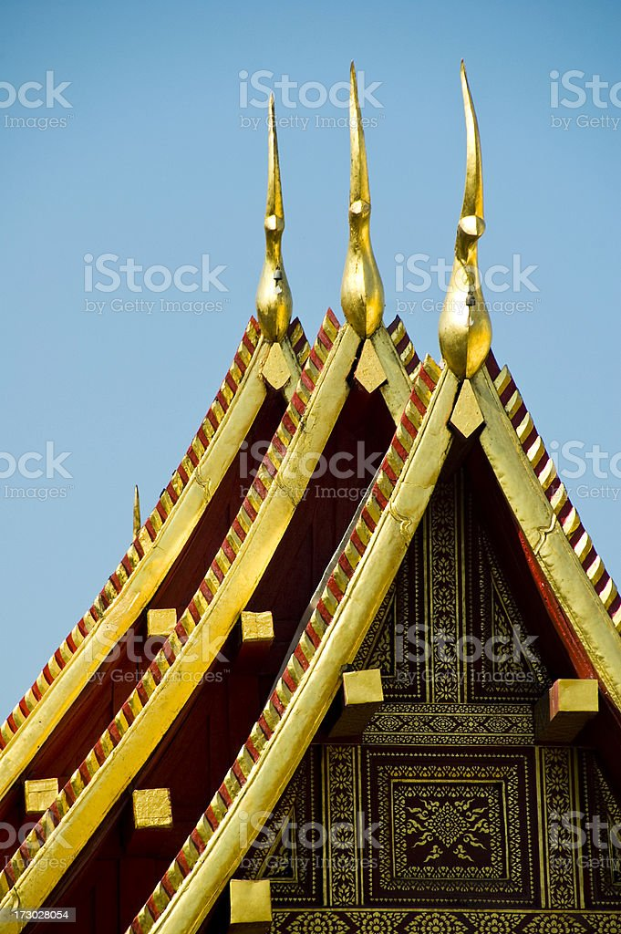 Temple Thailand Chang Mai golden spires roof royalty-free stock photo