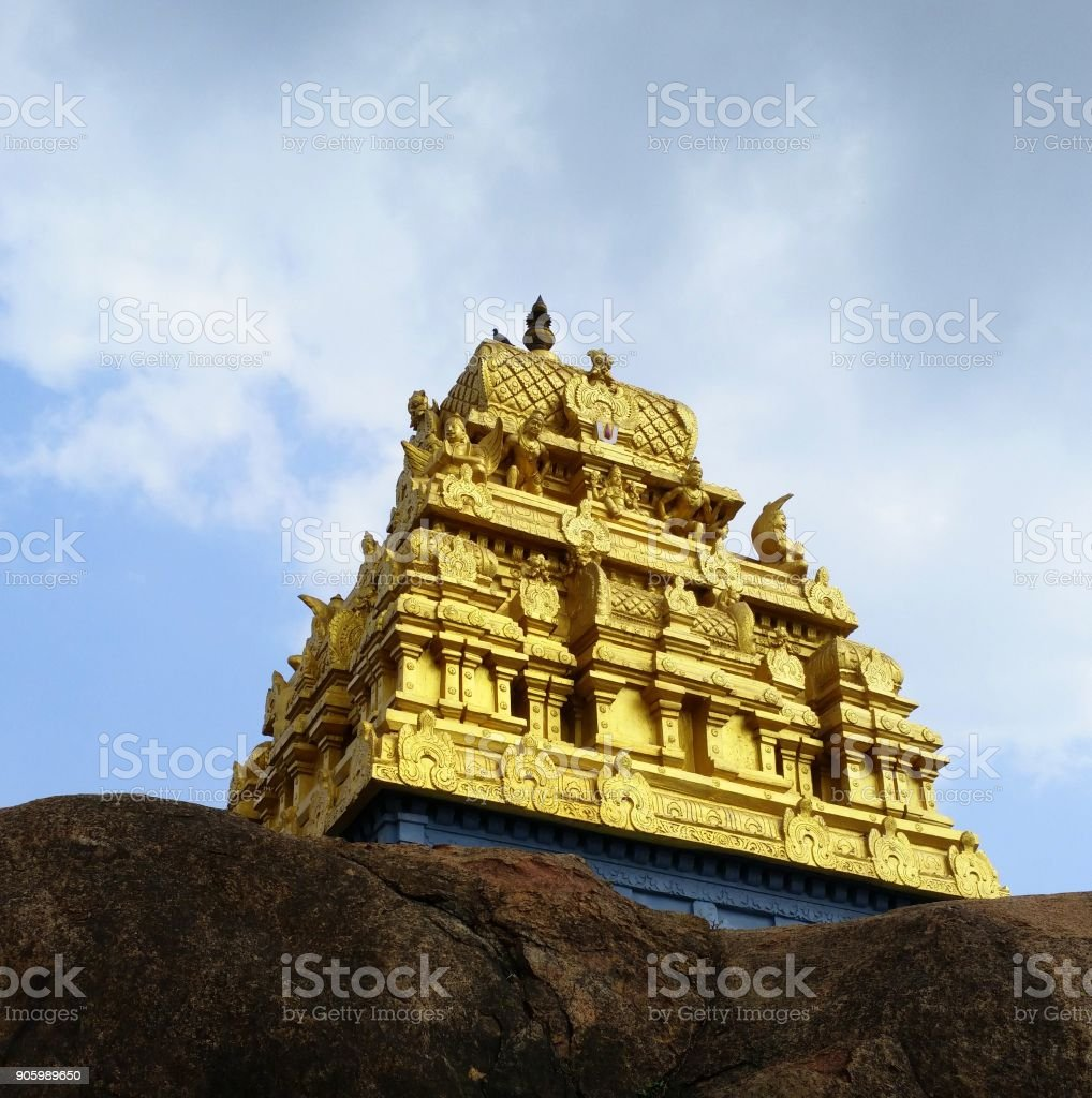 Temple tower of 'Singaperumal Temple' or 'Patalathri Narasimhar Temple' in the town of Chengalpet, Kancheepuram district of Tamilnadu, India stock photo