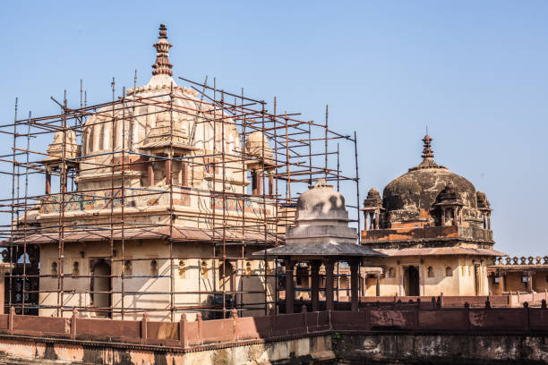 A temple under construction in India stock photo