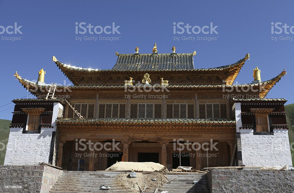 Temple under construction in Tibet royalty-free stock photo