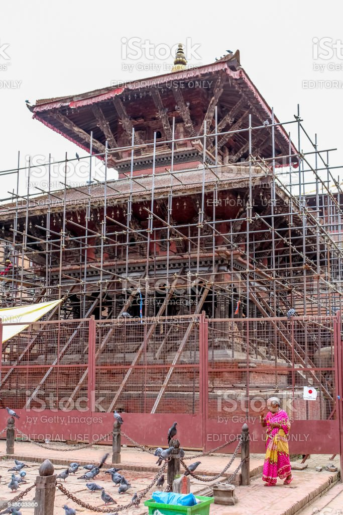 Temple under renovation after the devastating earthquake of 2015 stock photo