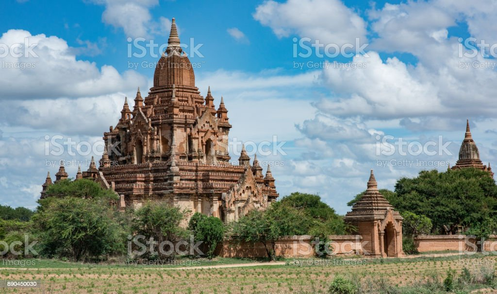 Temple with a wall in Bagan Myanmar stock photo