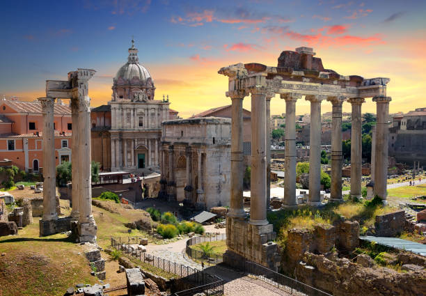 Temples and ruins of Roman Forum Temples and ruins of Roman Forum at sunset, Italy roman forum stock pictures, royalty-free photos & images