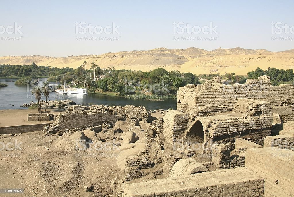 Temples of Khnum and Satis, Elephantine Island, Aswan, Egypt royalty-free stock photo