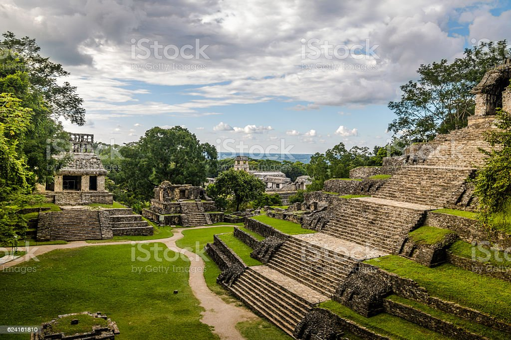 Temples of the Cross Group - Palenque, Chiapas, Mexico stock photo
