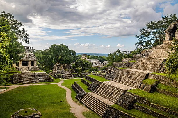 temples of the cross group - palenque, chiapas, mexico - mexico stock photos and pictures