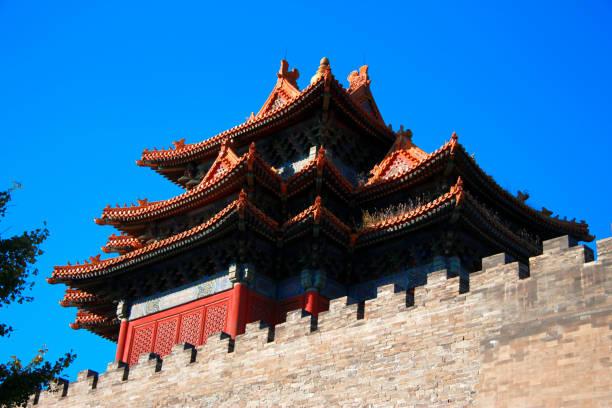 Pekin Çin'de Yasak Şehir Tapınakları stok fotoğrafı