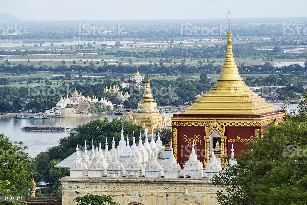 Temples with gold roofs at Mandalay, Myanmar stock photo
