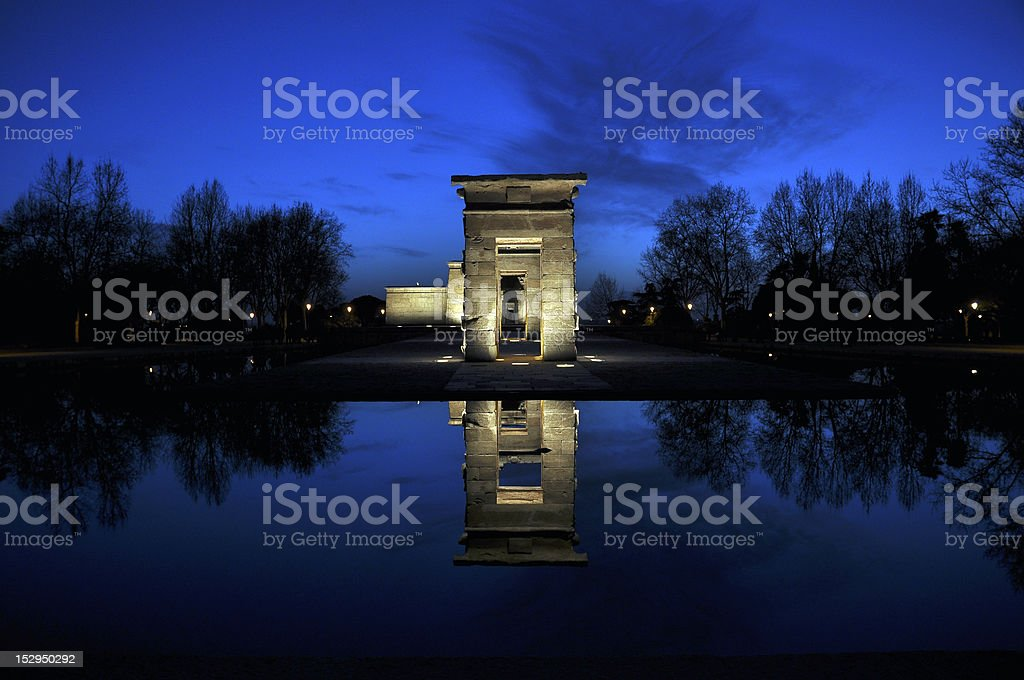 Templo de Debod reflected in water, Madrid, Spain royalty-free stock photo