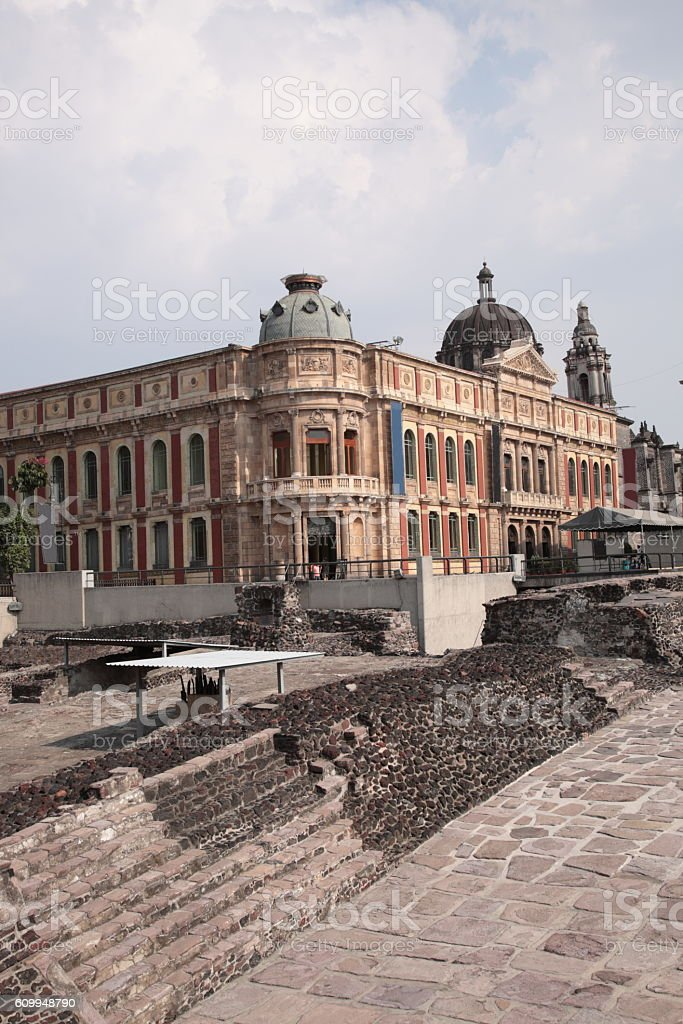 Templo Mayor and Palacio de la Autonomía in Mexico city stock photo