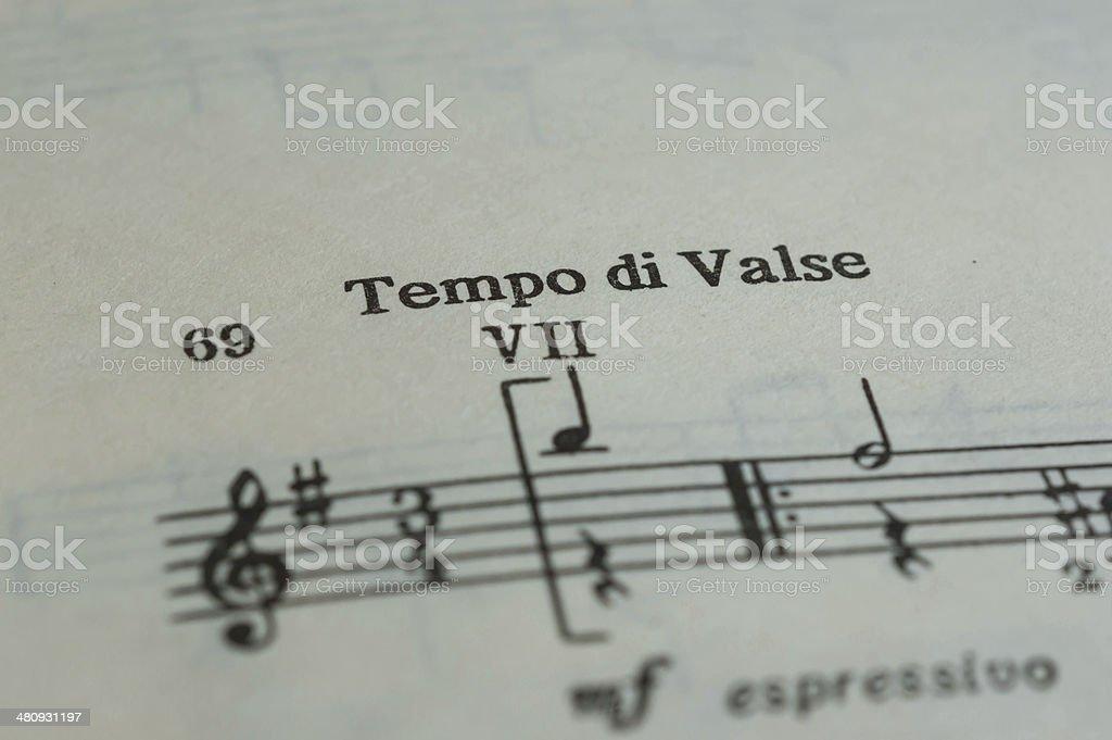 Tempo di Valse in a music book close up stock photo