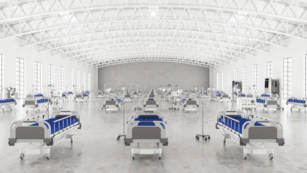 tillfällig coronavirus pandemic hospital ward med tomma sängar i stora lager - temporär bildbanksfoton och bilder