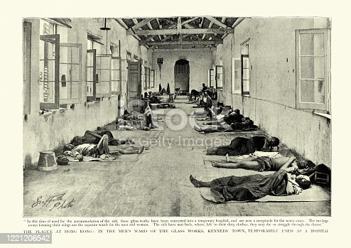 Vintage photograph of scene from the 1894 Hong Kong plague, part of the Third plague pandemic. Temporary hospital for victims of the plague, in the Glass works, Kennedy town