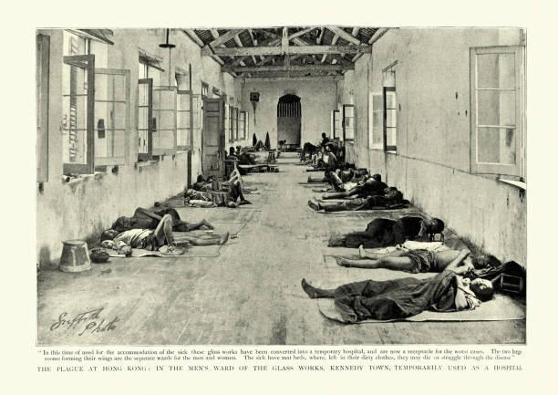 Temporary hospital for victims of the plague pandemic, Hong Kong, 1894 stock photo
