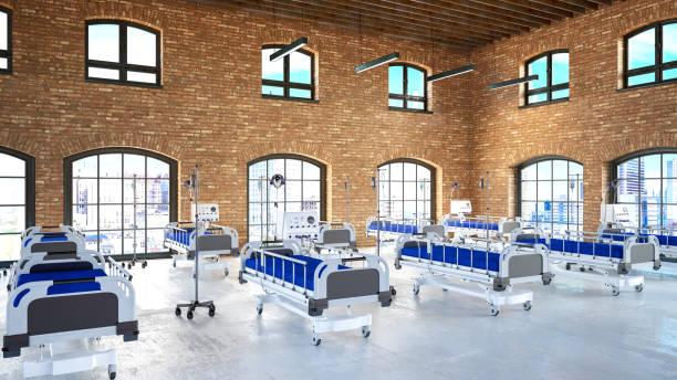 tillfällig sjukhusavdelning med tomma sängar i stora lager - temporär bildbanksfoton och bilder