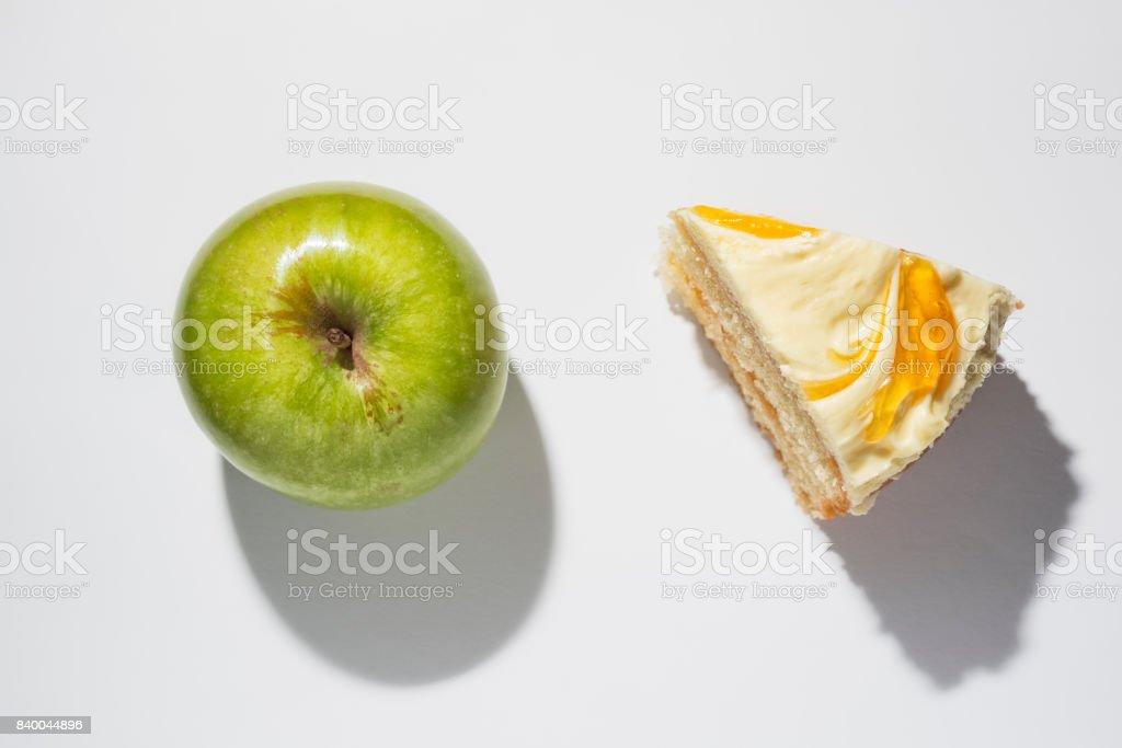Temptation, Apple or Cake. stock photo